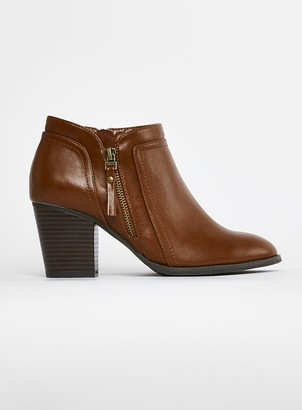 Evans EXTRA WIDE FIT Brown Side Zip Ankle Boots
