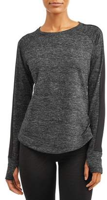 Cascade Blue Women's Core Active Crewneck Tech Fleece Pullover Sweatshirt with Thumbholes