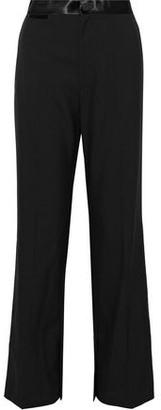 Helmut Lang Satin-trimmed Wool And Mohair-blend Wide-leg Pants