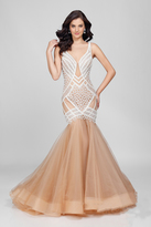 Terani Couture Beautiful Beaded V-neck Mermaid Dress 1722GL4486