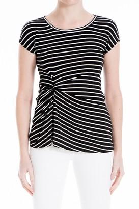 Max Studio Striped Front Twist Short Sleeve Top