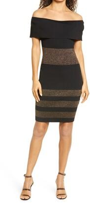 Bebe Off the Shoulder Body-Con Dress