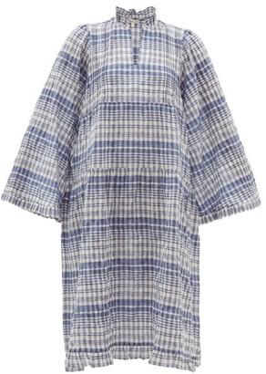 Belize - Lana Checked Cotton-blend Seersucker Dress - Blue White