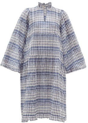 Belize - Lana Checked Cotton-blend Seersucker Dress - Womens - Blue White