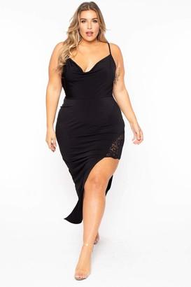 Curvy Sense Vavavoom Lace Inset Dress in Black Size 1X