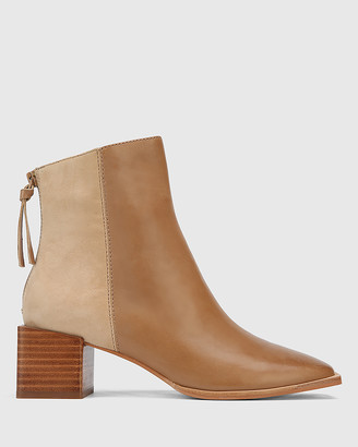 Wittner - Women's Brown Heeled Boots - Aldwin Leather & Suede Square Heel Ankle Boots - Size One Size, 37 at The Iconic