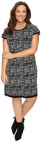 London Times Plus Size Short Sleeve Fit & Flare Sweater Dress