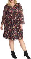 Rachel Roy Plus Emma Floral-Print Knee-Length Dress