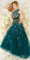 Mac Duggal Velvet Waist One Shoulder Floral Chiffon Evening Dress