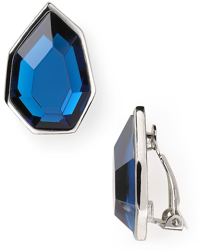 T Tahari Essentials Silver Blue Stone Clip Earrings