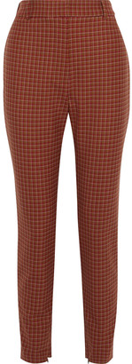Zimmermann Unbridled Stovepipe Checked Stretch-cady Slim-leg Pants