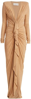 Alexandre Vauthier Metallic Stud Ruched Gown