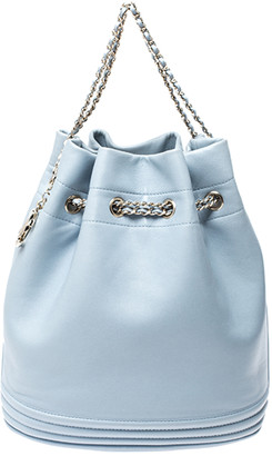 Chanel Light Blue Leather Chain Bucket Bag