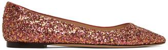 Jimmy Choo Pink Blast Coarse Glitter Romy Flats
