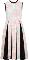 House of Holland Palm Leaf Jersey-trimmed Jacquard And Fil Coupé Dress - Baby pink