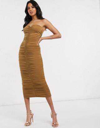 AX Paris gathered front strapless midi dress in tan