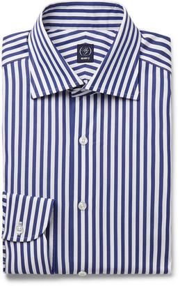 Beams Navy Cutaway-Collar Striped Cotton-Poplin Shirt