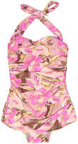 Bettie Page Pink & Brown Floral Maillot
