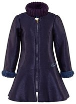 Miss Blumarine Navy Dress Coat with Rose Cuffs and Knit Snood