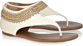 Tory Burch Rella chain and crochet-trimmed leather sandals