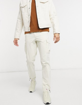 Selected cargo pant with cuffed hem in beige