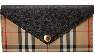 Burberry Halton Vintage Check & Leather Continental Wallet
