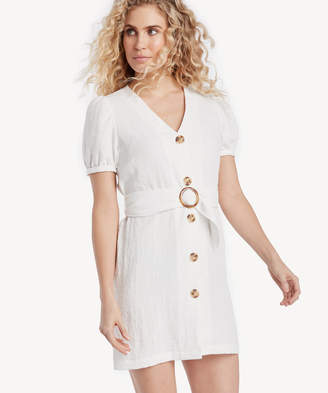 J.o.a. Women's Puff Sleeve Dress With O Ring Belt Detail In Color: Off White Size Medium From Sole Society