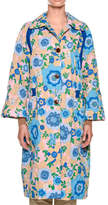 Marni Long-Sleeve Quilted Floral-Print Mid-Calf Duster Jacket