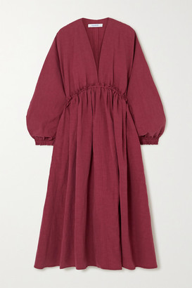 NACKIYÉ L'orient Gathered Cotton, Linen And Silk-blend Midi Dress - Burgundy