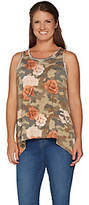 Peace Love World Camo and Floral Printed Tankw/ Asymmetric