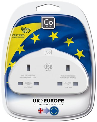 Go Travel Duo USB UK to EU Travel Adaptor