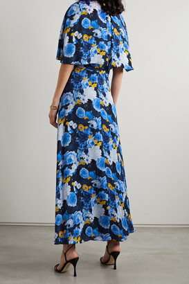 Lela Rose Floral-print Georgette Midi Dress - Blue