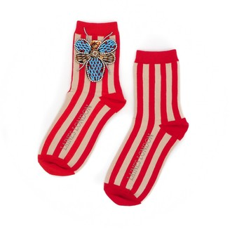 Laines London Red & Cream Stripe Cotton Socks With Beaded Bug