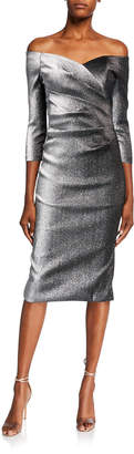 Theia Metallic Off-the-Shoulder 3/4-Sleeve Ruched Dress