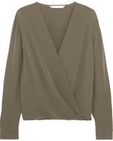 Diane von Furstenberg Marci Wrap-effect Silk-crepe Blouse - Sage green