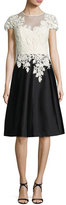 Rickie Freeman For Teri Jon Cap-Sleeve Lace & Taffeta Fit-and-Flare Cocktail Dress, White/Black