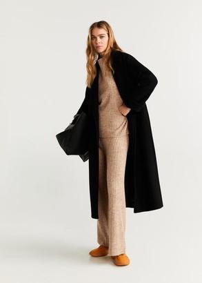 MANGO Ribbed knit trousers medium brown - XL - Women