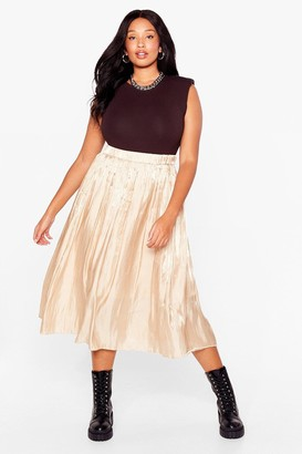 Nasty Gal Womens Very Nice to Pleat You Plus Midi Skirt - Gold