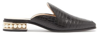 Nicholas Kirkwood Casati Pearl-heel Croc-effect Leather Loafers - Black