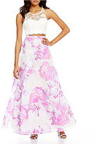 Sequin Hearts Illusion-Yoke Open-Back Lace To Floral Print Full Skirt Two-Piece Dress