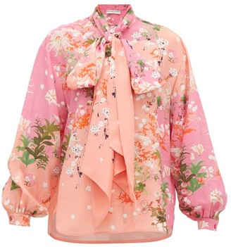 Givenchy Floral-print Detachable Pussy-bow Silk Blouse - Womens - Pink