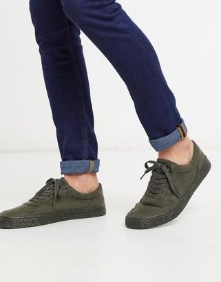 Asos DESIGN sneakers in khaki faux suede