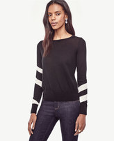 Ann Taylor Striped Sleeve Merino Wool Sweater