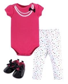 Little Treasure Baby Girl Bodysuit, Pants and Shoes Set