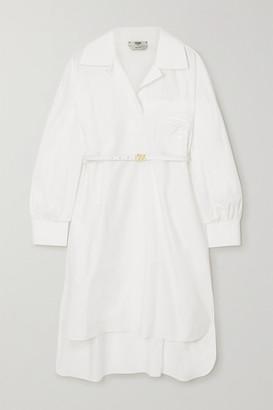Fendi Belted Embroidered Cotton-poplin Mini Dress - White
