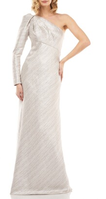 Kay Unger Metallic Stripe One-Shoulder Trumpet Gown