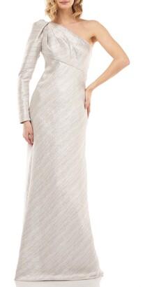 Kay Unger Metallic Stripe One-Shoulder Trumpet Gown