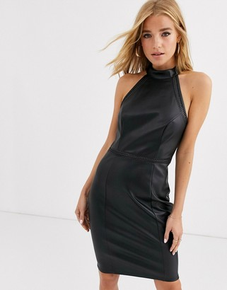 Lipsy halterneck pu pencil dress in black