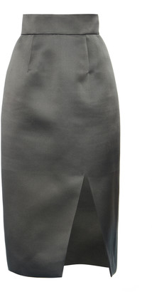 Miu Miu High-Rise Silk Satin Midi Skirt