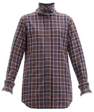 Victoria Beckham Pleated Neck And Cuffs Check Cotton Shirt - Brown Navy